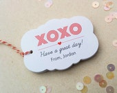 XOXO Valentines Day tags, personalized gift tags, Customized Valentines day tags, kids valentines tags, custom favor tag - TG-15