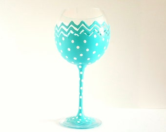 Turquoise wine glass, large wine glass, dots, chevron wine glass, high quality glass