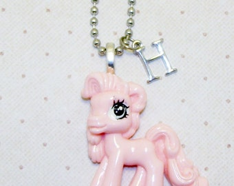 Large Soft Pink My Little Pony Necklace With Initials, Pony Necklace, Pony Jewelry, Childrens Necklace, Initial Necklace