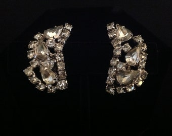Elegant Rhinestone Clip Earrings, Vintage Rhinestone Clip-on Earrings, Rhinestone Ear Cuff Earrings, Mid Century Wedding Fashion Jewelry