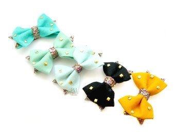 Studded Felt Bow Hair Clip - Felt Hair Bow, Felt Hair Clip, Felt Bow, Hair Clips for Girls, Felt Stud Bow