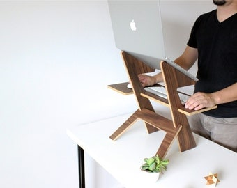 Alto  Standing Desk, Walnut, Made in the USA, Macbook pro, Laptop stand