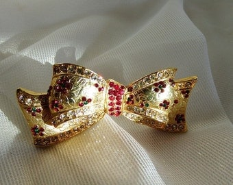 Vintage Ribbon Bow Design Gold Metal Brooch // Red Rhinestone with Green Accents // Design Mid Century