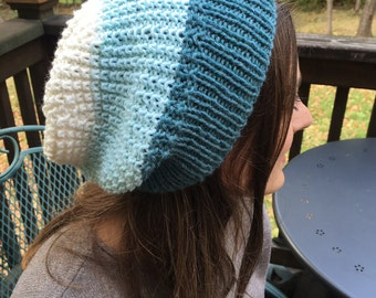 Blue-Mint-White Ombre Reversible Hand-Knit Slouch Hat