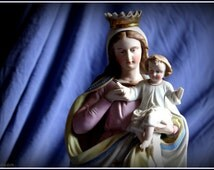 Vintage hand painted bisque statue of Our Lady and child Jesus. 1910s/1920s catholic statue.