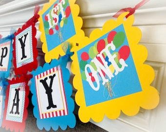 PARTY PACK SPECIAL - Happy Birthday Ballon Party Collections - Light Blue Chevron, Red Stripes with Green and Yellow accents