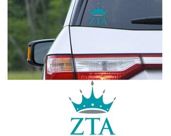 Zeta Tau Alpha sorority decal, ZTA car window sticker, Zeta Tau Alpha sticker, Zeta Tau Alpha decal, Indoor / Outdoor 3 year rated vinyl