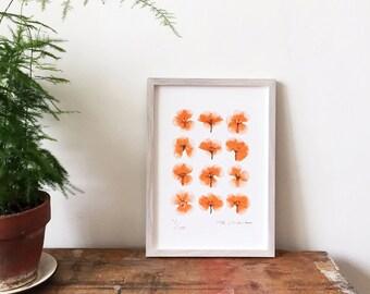 Pressed Flower Geranium Print Risograph