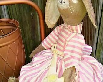 Primitive Folk Rabbit Doll-Painted Muslin Bunny Doll