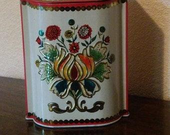 Vintage Floral Tin, Made in England, Slanted Hinged Lid