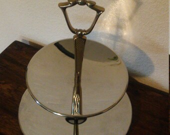 Kromex tiered serving tray, Vintage