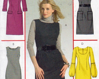 McCalls 5464, Misses Size 12,14,16 and 18, Jumpers and Dresses Pattern, 4 Great Looks, Patch Pockets, Scoop Neck, Sleeve Variations