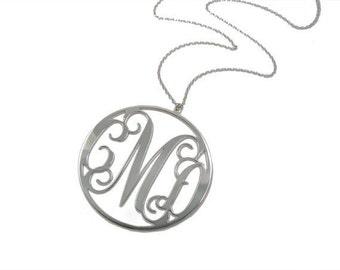 """Huge Monogram Necklace 3"""" Sterling silver 925 - Personalized Initial monogram necklace. personalized gift"""