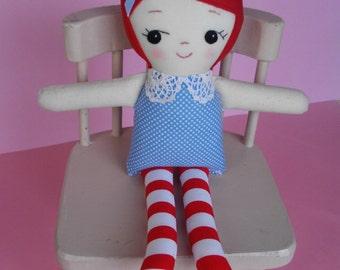 Handmade cloth ragdoll - Red-haired rag doll, plush toy, softie toy