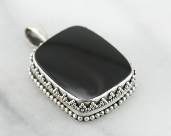 Bohemian Chic, Black Onyx and Sterling Silver Pendant  R459NA-N