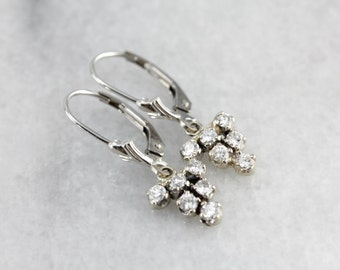 Vintage Diamond Cluster Drop Earrings in White Gold  CMLY7C-R