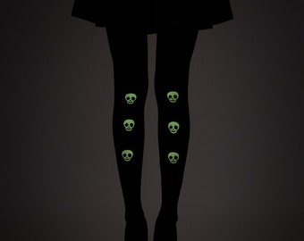 Glow in the dark skulls tights / Halloween tights / Goth tights