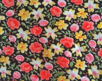 Vintage retro Swedish floral cotton fabric with beautiful colors. Unused