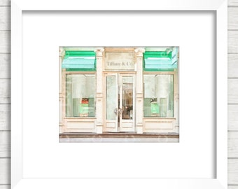 Tiffany & Co in Soho:  Tiffany Storefront, Tiffany and Co Art Print, Mint Blue Bedroom Bathroom Wall Art, Fashion Blog, Bridesmaids Gift