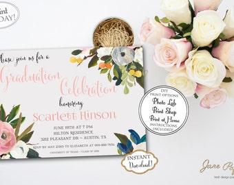 INSTANT DOWNLOAD - 2017 Graduation Party Invitation - Floral Graduation - High School Graduation - Class of 2017 - Open House Invitation