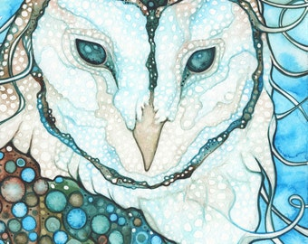 Starlit Owl 5 x 7 print, turquoise earth tones, whimsical wildlife, totem animal spirit guide, starlight stars constellation