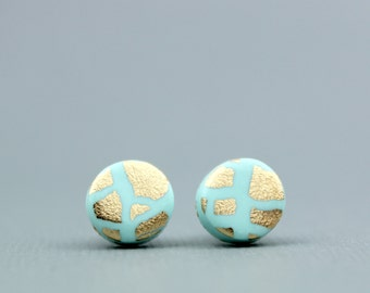Gold and Mint Studs, Mint and Gold Leaf Studs, Gold and Mint Earrings, Mint Studs, Gold Flake Studs, Bridesmaid earrings, Summer accessories