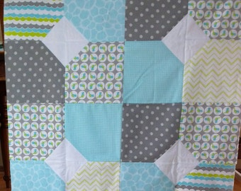 Unfinished Quilt Top Ready to Quilt Lap Throw Baby Boy Quilt Blanket Flannel Blue Green Gray White Birds