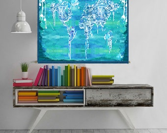 World map tapestry wall hanging world map canvas world map world map canvas wall art geometric abstract painting print poster home decor turquoise kids gift world gumiabroncs Gallery