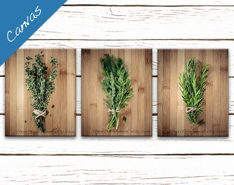 Kitchen art, Canvas Herb prints, Wall art series, Home décor rustic kitchen, Cooking gift, Set of 3 wall art // Culinary Herbs canvas set