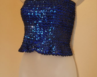 Vintage 70's Toppettes By A.Broad Blue and Black Sequins Tube Top // Size