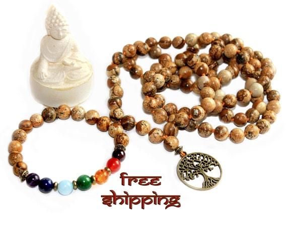 Set Japa Mala Hand Knotted 108 Picture Jasper  8mm Beads Prayer Yoga Necklace, Bracelet 7 chakras for Meditation and Mantra - Free Shipping