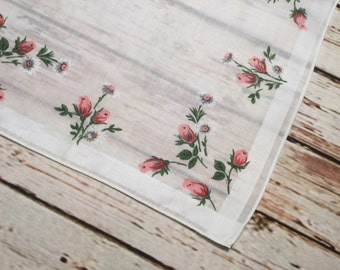 Ladies Hankie . Flowers Floral Handkerchief . Rose Buds Print . Vintage Mid Century Hanky . Vintage Hankie .