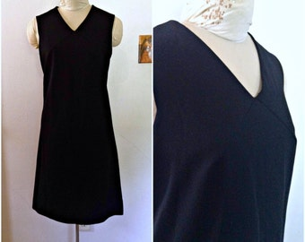Sixties vintage black sheath dress, size large 8 10 12 lbd cocktail dress, sleeveless dress, sixties clothing, vintage clothing for women
