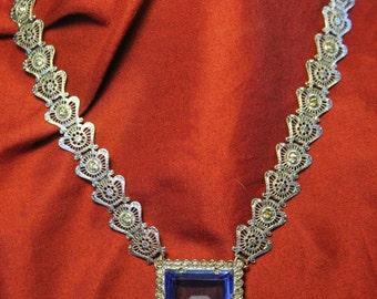 Heavy Art Deco Blue Czech Glass Rhodium Boock Chain Necklace with Rhinestones