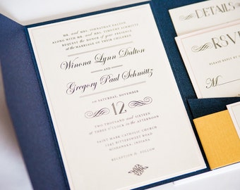 Elegant Navy, Blush, and Gold Wedding Invitation, Pocketfold Wedding Invitation,  WINONA.