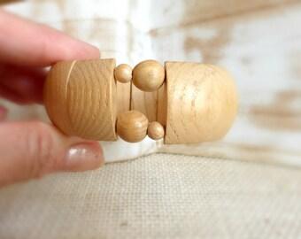 Bangle boho beaded bracelet gift , Wooden bracelet gift for mom , Wood bracelet gift for her , Natural wood bracelet , Beige bracelet