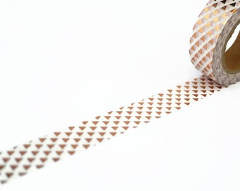 Copper Foil Washi Tape with Triangles Pattern - Rose Gold Decorative Tape