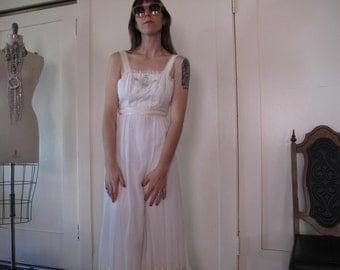 70's Embroidered Hippie Wedding Gown sz Xs