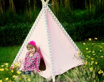 Kid's Teepee Play Tent No. 0278 - Pink and Gray Chevron Teepee - Tent for Girls