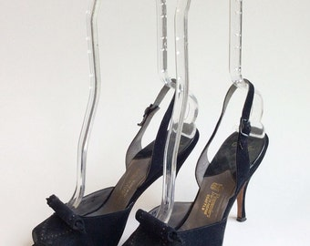 50s Navy Blue Mackey Star Stiletto Pumps / 1950s Vintage Studded Slingback Peep Toe Heels / Size 7.5 - 8