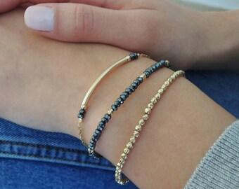 Delicate Gold Bracelet Set, Everyday Dainty Gold Filled Bracelet Bundle, Set Of Three Bracelets, Dainty Stacking Bracelet Set
