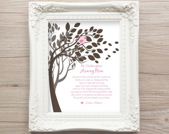 Gift For GODDAUGHTER GIFT from Godparents Baptism Gift God Daughter Christening Baby Personalized Art Print Gift Nursery Decor New Parents