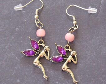 Fairy Earrings with Purple Wings