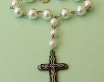 Christian Chaplet,Single Decade,White  *travel rosary,car rosary,Catholic,rosary,cross,prayer,singlet,devotion,tenner,meditation beads