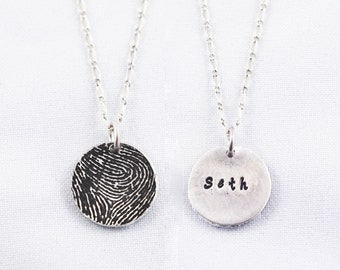 Fingerprint Jewelry, Fingerprint Necklace Silver Fingerprint Necklace - Wedding Gift, couple's gift, a parent's fingerprint