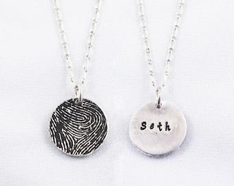 Fingerprint Jewelry, Fingerprint Necklace Silver Fingerprint Necklace - Wedding Gift, couple's gift, a parent's fingerprint