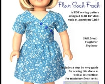 Pixie Faire About A Doll 18 Flour Sack Frock Doll Clothes Pattern for 18 inch American Girl Dolls - PDF