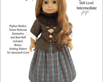 Pixie Faire Kindred Thread Outlandish: Highland Lass Doll Clothes Pattern for 18 inch American Girl Dolls - PDF