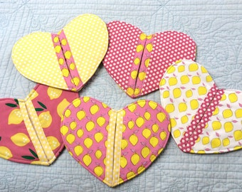 Lemon Hearts Pot Holders Hot Pads
