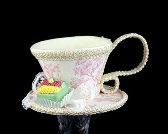 Pink and Cream Toile with Green Petit Four Tea Cup Fascinator Hat, Alice in Wonderland Mad Hatter Tea Party, Derby Hat